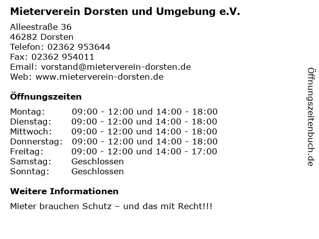 Mieterverein Dorsten und Umgebung e.V. in Dorsten: Adresse und Öffnungszeiten