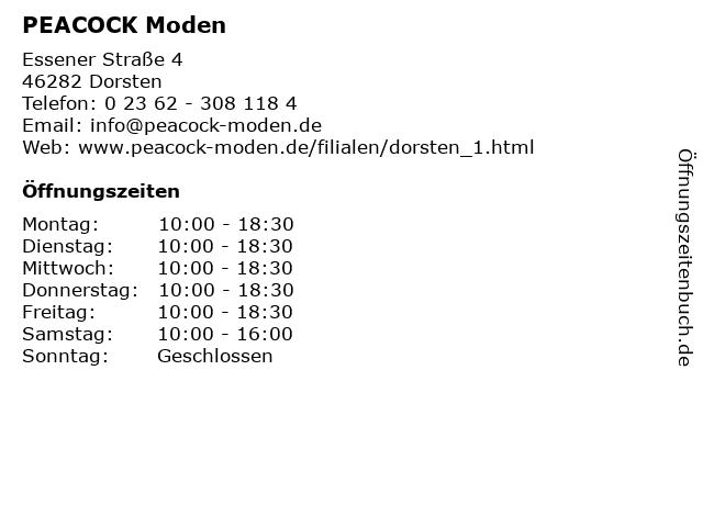 PEACOCK Moden in Dorsten: Adresse und Öffnungszeiten
