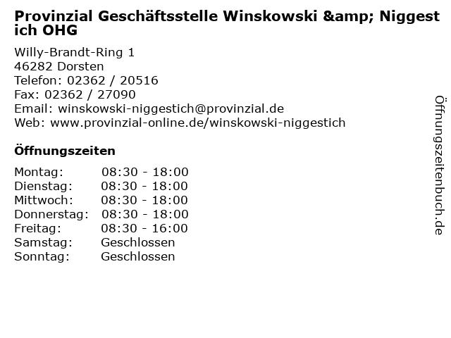 Provinzial Geschäftsstelle Winskowski & Niggestich OHG in Dorsten: Adresse und Öffnungszeiten