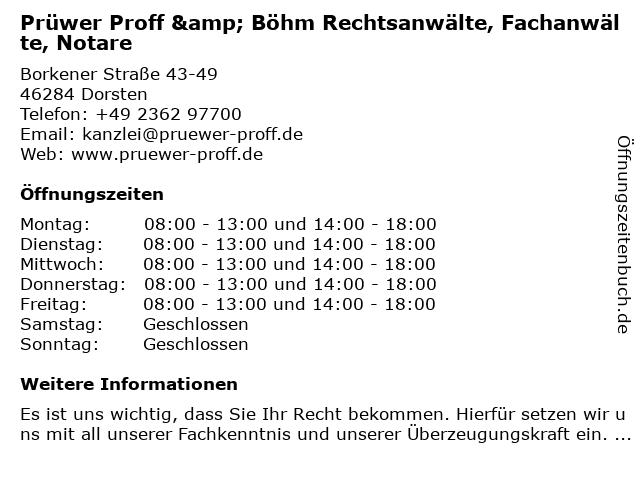 Prüwer Proff & Böhm Rechtsanwälte, Fachanwälte, Notare in Dorsten: Adresse und Öffnungszeiten