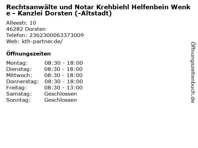 Rechtsanwälte und Notar Krehbiehl Helfenbein Wenke - Kanzlei Dorsten (-Altstadt) in Dorsten: Adresse und Öffnungszeiten