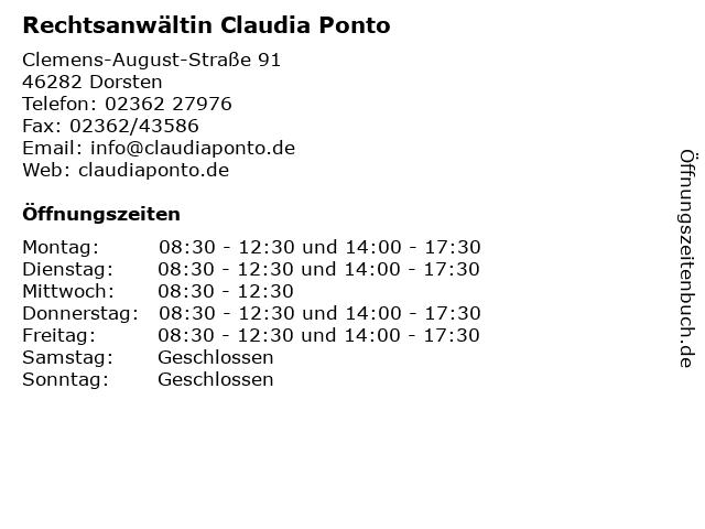 Rechtsanwältin Claudia Ponto in Dorsten: Adresse und Öffnungszeiten