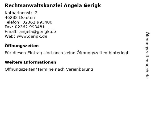 Rechtsanwaltskanzlei Angela Gerigk in Dorsten: Adresse und Öffnungszeiten