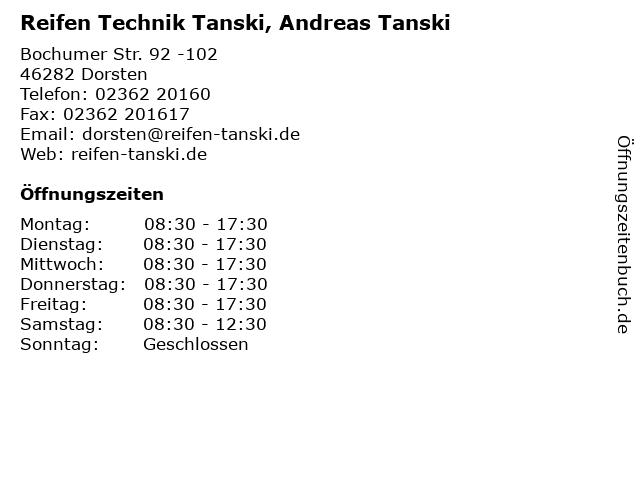 Reifen Technik Tanski, Andreas Tanski in Dorsten: Adresse und Öffnungszeiten