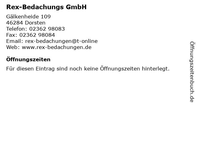 Rex-Bedachungs GmbH in Dorsten: Adresse und Öffnungszeiten