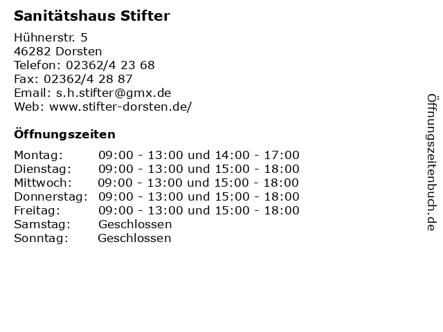 Sanitätshaus Stifter in Dorsten: Adresse und Öffnungszeiten