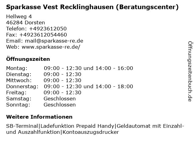 Sparkasse Vest Recklinghausen - Beratungscenter Dorsten-Hervest in Dorsten: Adresse und Öffnungszeiten