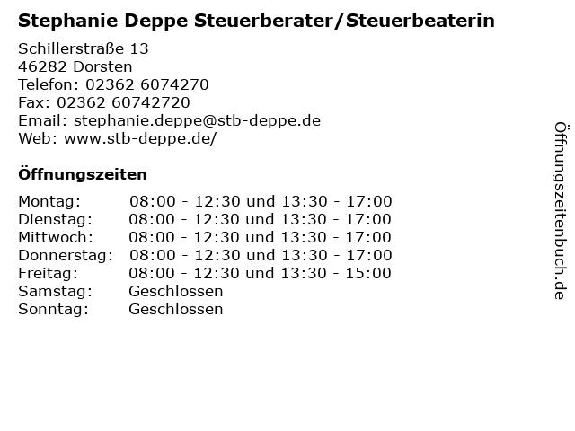 Stephanie Deppe Steuerberater/Steuerbeaterin in Dorsten: Adresse und Öffnungszeiten