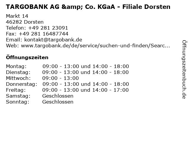 TARGOBANK AG & Co. KGaA - Filiale Dorsten in Dorsten: Adresse und Öffnungszeiten