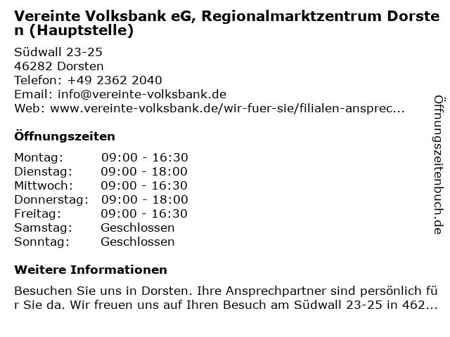 Vereinte Volksbank eG, Regionalmarktzentrum Dorsten (Hauptstelle) in Dorsten: Adresse und Öffnungszeiten