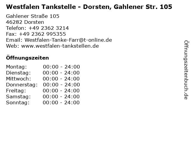 Westfalen Tankstelle - Dorsten, Gahlener Str. 105 in Dorsten: Adresse und Öffnungszeiten