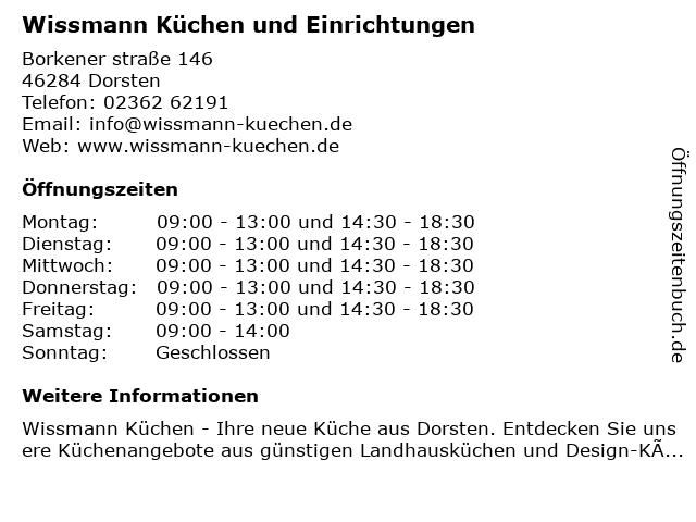 Wissmann Küchen und Einrichtungen in Dorsten: Adresse und Öffnungszeiten