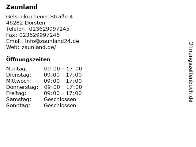 Zaunland in Dorsten: Adresse und Öffnungszeiten
