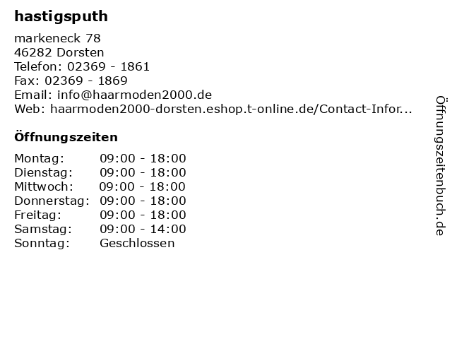 ᐅ Offnungszeiten Hastigsputh Markeneck 78 In Dorsten