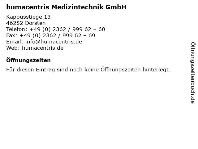 humacentris Medizintechnik GmbH in Dorsten: Adresse und Öffnungszeiten