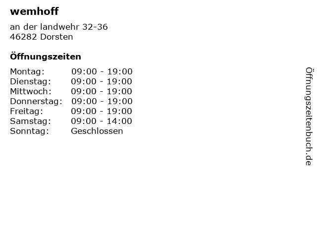 wemhoff in Dorsten: Adresse und Öffnungszeiten