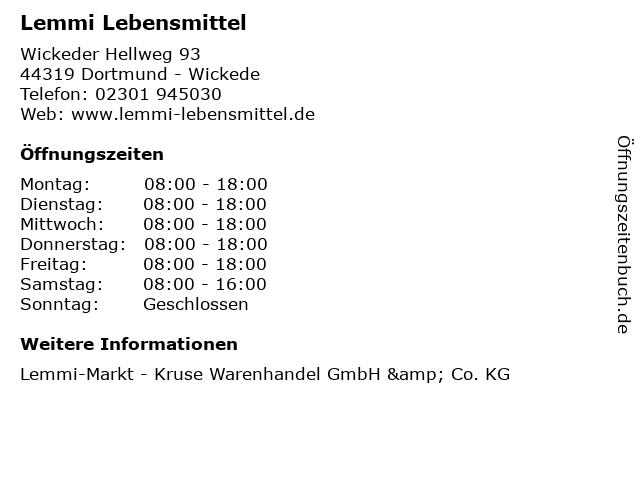 Lemmi Lebensmittel in Dortmund - Wickede: Adresse und Öffnungszeiten