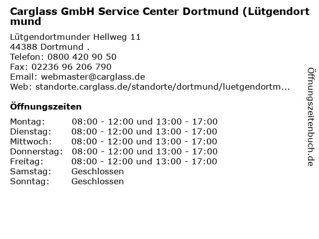 Carglass GmbH Service Center Dortmund (Lütgendortmund in Dortmund .: Adresse und Öffnungszeiten
