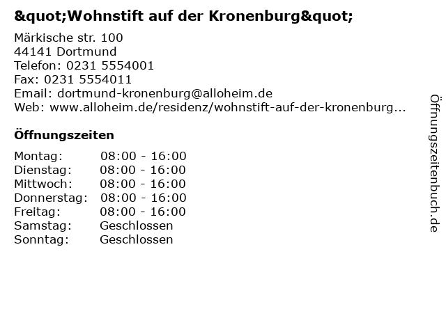 Wohnstift Auf der Kronenburg in Dortmund: Adresse und Öffnungszeiten