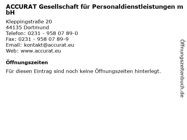 ACCURAT Gesellschaft für Personaldienstleistungen mbH in Dortmund: Adresse und Öffnungszeiten