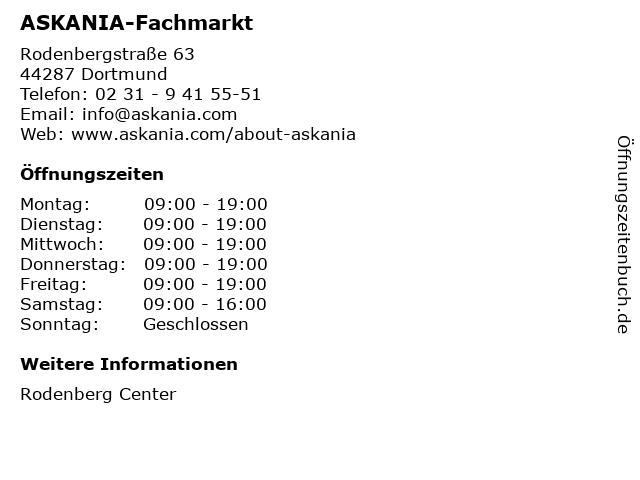 ASKANIA-Fachmarkt in Dortmund: Adresse und Öffnungszeiten