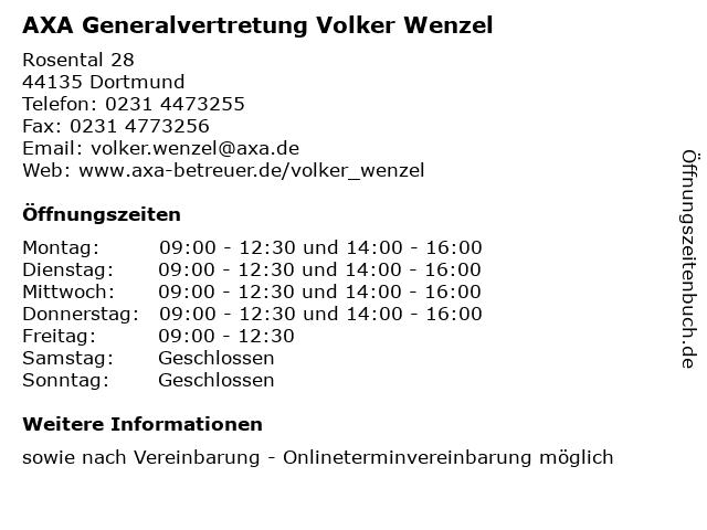 AXA Generalvertretung Volker Wenzel in Dortmund: Adresse und Öffnungszeiten