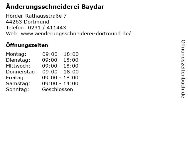 Änderungsschneiderei Baydar in Dortmund: Adresse und Öffnungszeiten
