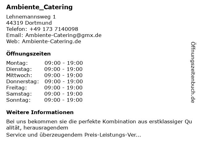 Ambiente_Catering in Dortmund: Adresse und Öffnungszeiten