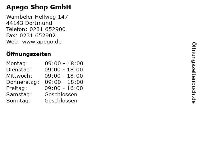 Apego Shop GmbH in Dortmund: Adresse und Öffnungszeiten