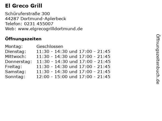 El Greco Grill in Dortmund-Aplerbeck: Adresse und Öffnungszeiten