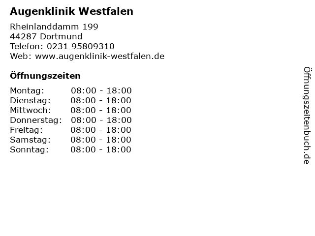 Augenklinik Westfalen in Dortmund: Adresse und Öffnungszeiten