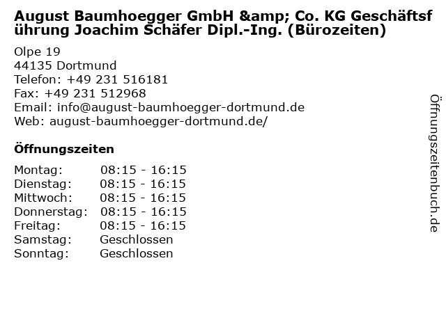 August Baumhoegger GmbH & Co. KG Geschäftsführung Joachim Schäfer Dipl.-Ing. (Bürozeiten) in Dortmund: Adresse und Öffnungszeiten