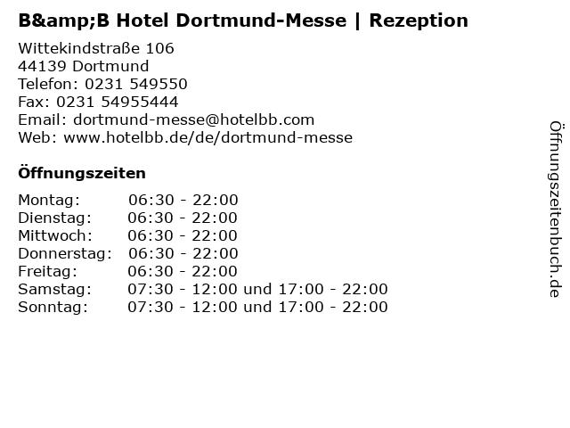 B&B Hotel Dortmund-Messe   Rezeption in Dortmund: Adresse und Öffnungszeiten