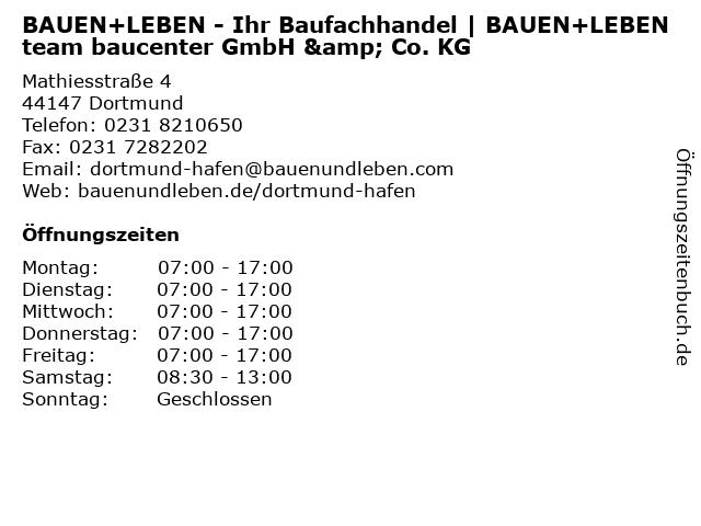 BAUEN+LEBEN team baucenter  GmbH & Co. KG in Dortmund: Adresse und Öffnungszeiten