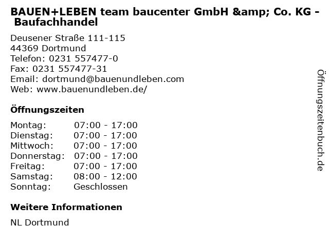 BAUEN+LEBEN team baucenter GmbH & Co. KG - Baufachhandel in Dortmund: Adresse und Öffnungszeiten