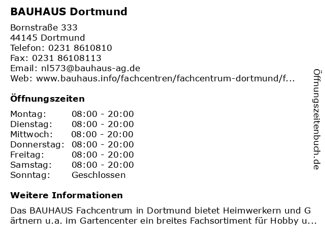 BAUHAUS Dortmund in Dortmund: Adresse und Öffnungszeiten