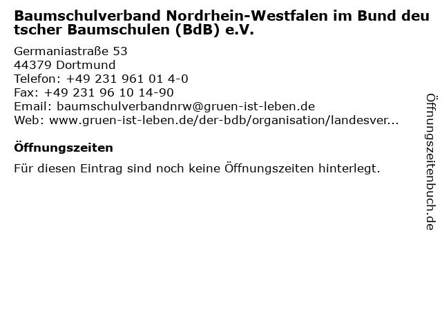 Baumschulverband Nordrhein-Westfalen im Bund deutscher Baumschulen (BdB) e.V. in Dortmund: Adresse und Öffnungszeiten