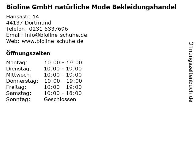 Bioline GmbH natürliche Mode Bekleidungshandel in Dortmund: Adresse und Öffnungszeiten
