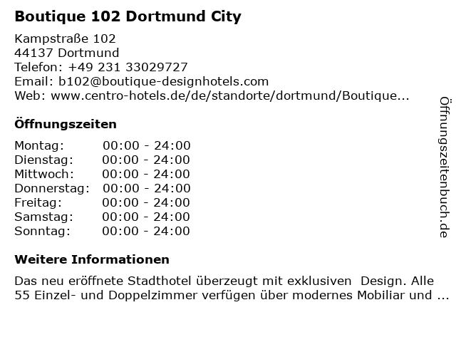 ᐅ Offnungszeiten Boutique 102 Dortmund City Kampstrasse 102 In