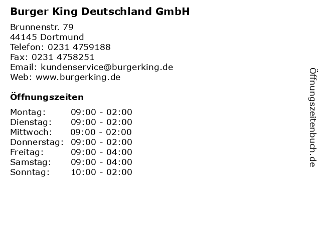 Burger King Deutschland GmbH in Dortmund: Adresse und Öffnungszeiten