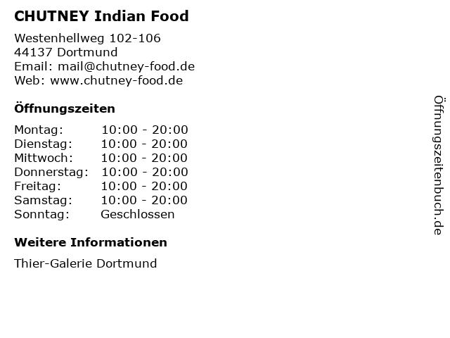 CHUTNEY Indian Food in Dortmund: Adresse und Öffnungszeiten