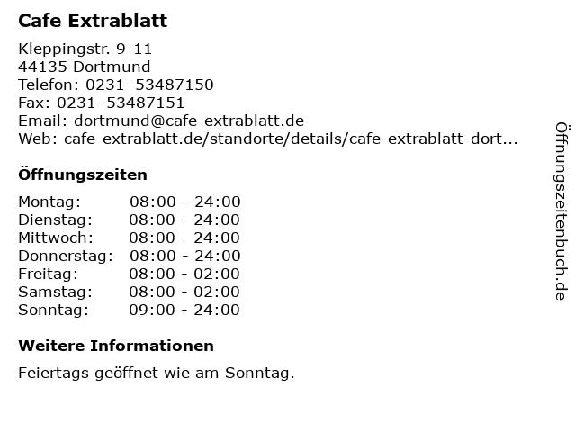 Cafe Extrablatt in Dortmund: Adresse und Öffnungszeiten