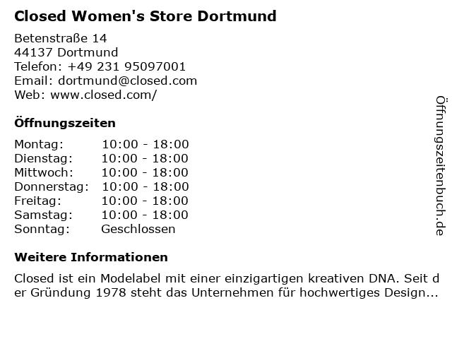 Closed Shop Women & Men in Dortmund: Adresse und Öffnungszeiten