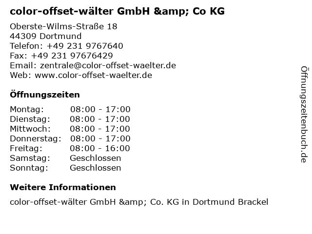 Color-offset-Wälter GmbH & Co. KG Druck- und Medienzentrum in Dortmund: Adresse und Öffnungszeiten