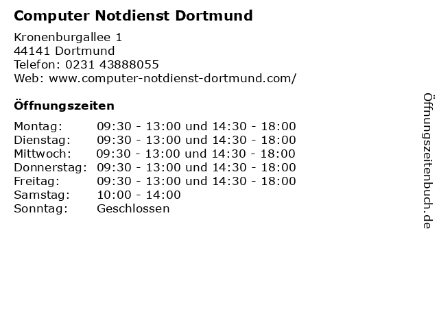 Computer Notdienst Dortmund in Dortmund: Adresse und Öffnungszeiten