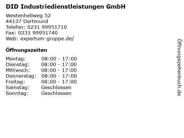 DID Industriedienstleistungen GmbH in Dortmund: Adresse und Öffnungszeiten