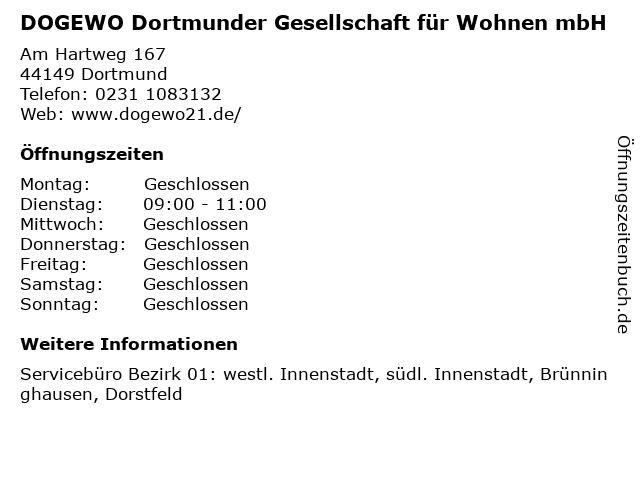 DOGEWO Dortmunder Gesellschaft für Wohnen mbH in Dortmund: Adresse und Öffnungszeiten