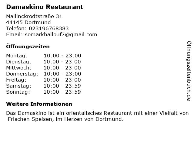 Damaskino Restaurant in Dortmund: Adresse und Öffnungszeiten