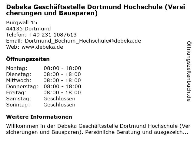 ᐅ Offnungszeiten Debeka Versicherung Geschaftsstelle Burgwall