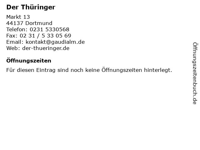 Der Thüringer in Dortmund: Adresse und Öffnungszeiten